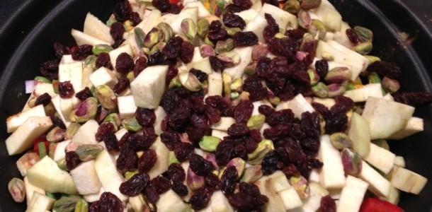 Lamstajine met aardappel en pistache
